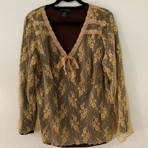 I.N.C laced blouse in good and wine color